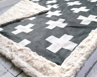 Minky Baby Blanket - Gender Neutral Designer Minky Plus Symbol