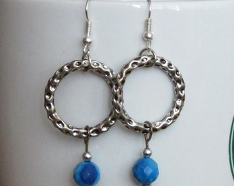Hammered Silver Hoops with Turquoise Earrings