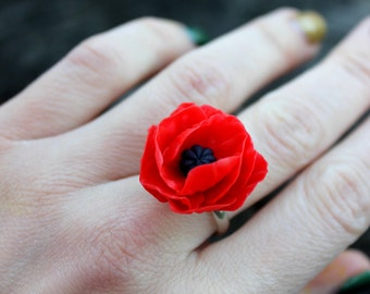 Jewelry Gift - Summer flower Ring, Red poppy Ring, Cold Porcelain Adjustable Ring