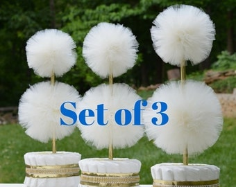 Tulle Pompom Topiary Centerpieces - Gender Reveal Party - Cream and Gold Baby Shower Decorations - Unisex Diaper Cakes - Unique Centerpieces