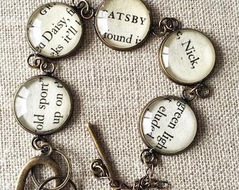 The Great Gatsby book page bracelet. old sport, Daisy, Gatsby, Nick, green light. F. Scott Fitzgerald