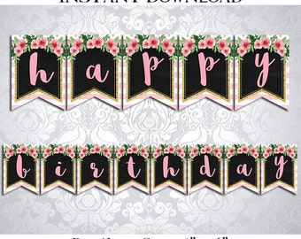 50% OFF SALE Printable Happy Birthday Banner / Pink and White Stripes / Floral Watercolor / Pink Gold / Watercolor / Instant Download / PDF