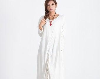 Women's Long maxi dress linen pullover Loose Kaftan dress scoop neck caftan plus size clothing large size dress Custom-made A111