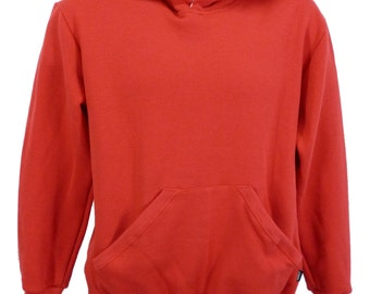 Men's red hoodie, with grey hood lining.   Made in England.   J804
