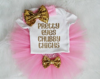 Pretty eyes chubby thighs baby girl outfit, baby girl clothes, baby girl onesie, baby girl shirt, baby clothes, pink and gold