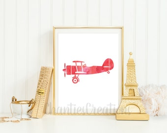 Vintage Airplane Red Watercolor Wall Art Printable. Airplane Printable For Boys Room Wall Art.