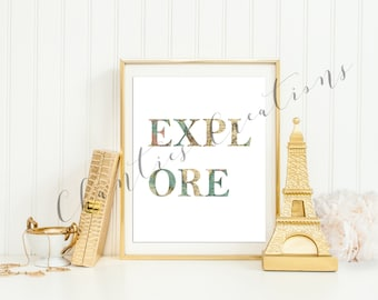Explore Print Typography Wall Art Printable. Print World Map. Quote Wall Art Printable.