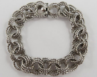 """7"""" Vintage Sterling Silver Textured Charm Bracelet Without Charms."""