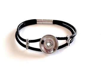 Black Leather SNAP Bracelet for 18mm-20mm Snap with Magnetic Clasp