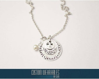 Stamped Disc Name Necklaces. Perfect for new moms!!