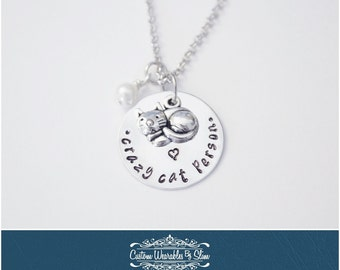 "Hand Stamped ""Crazy Cat Person"" NECKLACE!"