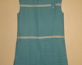 """Dress was dressed white edged blue """"french Vintage 60's-70's / new old Stock / size 10-12 years '"""