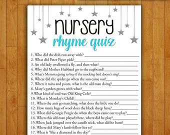 Baby Shower Game Nursery Rhyme Quiz - TEAL and SILVER - Printable Digital Instant Download Stars and Night Sky Moon Pretty Baby boy Shower