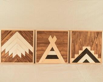 Tryptic Set of Three Southwest Wood Wall Art Bundle