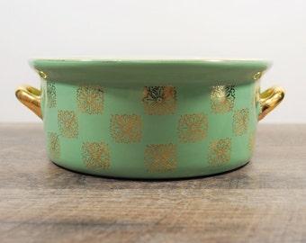 Vintage Hall China Casserole / Monterey Green / Hall Gold Label / Square Gold Medallion Design / Sage Green Dish / Casserole with Handles