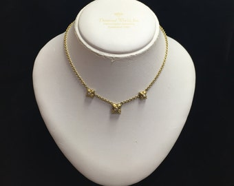 "Vintage 18k Yellow Gold 18"" Chain with Floral Design and .50 TDW Necklace"