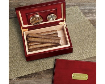 Personalized Cigar Humidor - Cherry Finish Wood Cigar Box Humidifier