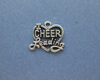 5 I Love Cheer Leading Charms- I Love Cheer Leading Pendants - Cheer Leading Charm - Cheer - Antique Silver - 20mm x 17mm -- (L7-10392)