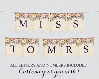 Printable Banner with ALL Letters and Numbers - Floral Bridal Shower Decoration - Shabby Chic Garden Bridal Shower Banner 0002-A