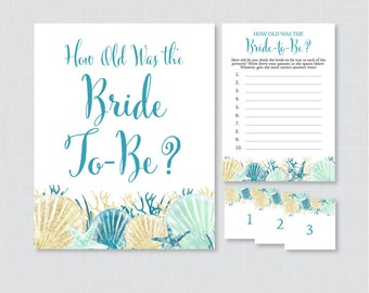 How Old Was the Bride To Be Game - Printable Beach Bridal Shower Game - Guess the Bride's Age, How Old Was She - Blue Aqua Nautical 0012-B