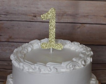 Gold Number Cake Topper, Any Number Any Color, Custom Cake Topper, Glitter Cake Topper, Name Cake Topper, 1st Birthday, glitter cake topper