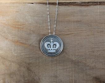 Wax seal Crown fine silver pendant