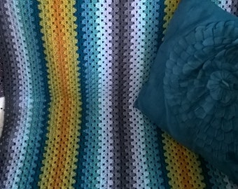 granny stripe crochet blanket / throw stroller blanket single bed stripy modern baby afghan traditional blanket bright blanket warm blanket