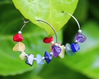 Crystal Chakra Multicoloured Hoop Earrings