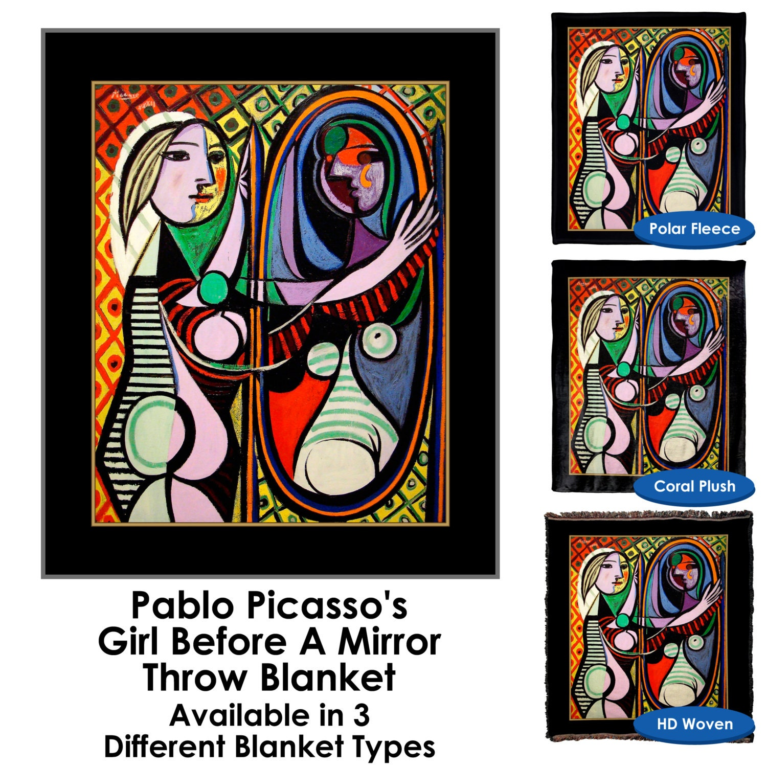 pablo picasso 39 s girl before a mirror throw blanket. Black Bedroom Furniture Sets. Home Design Ideas