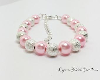 Pink and Silver Bracelet Pink Wedding Bracelet Baby Pink Bridesmaid Gift Bridal Party Gift Pink Beaded Jewellery Set Pink Pearl Bracelet