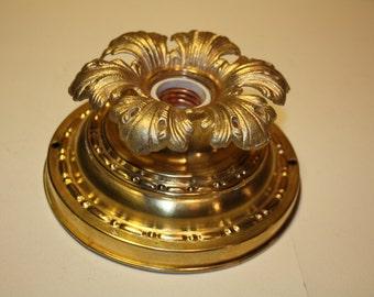 Antique Bryant Brass Flush Mount Ceiling Single Light Fixture