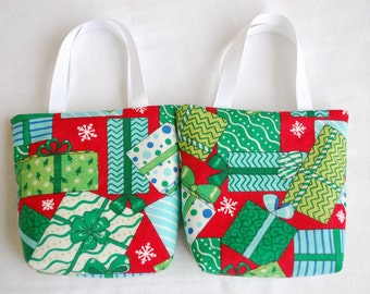Set of 2 Christmas Fabric Gift Bags/ Secret Santa Bags/ Holiday Goody Bags- Presents on Red