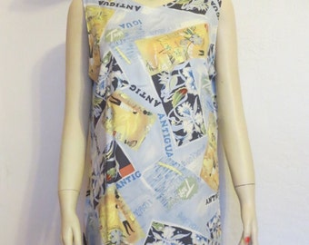 CLEARANCE SALE! Beachy Chic Retro Vintage 70's Style La Cabana Tropical Print Shift Dress Sz L