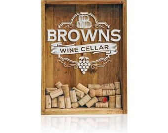 12x16 Wine Cork Holder, Wine Cork Shadow Box, Wine Cork Wedding Gift, Monogrammed Shadow Box, House Warming Gift
