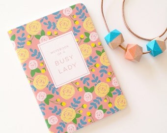 Cute floral notebook or journal // 28 blank pages // modern floral stationery // made from recycled paper // gift for a busy lady!