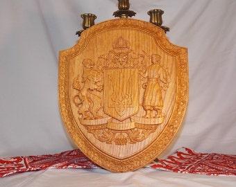 Ukrainian Trident tryzub Ukraine Carved wooden piece Ukrainian gift