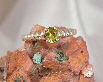 Sterling Silver Green Peridot Ring