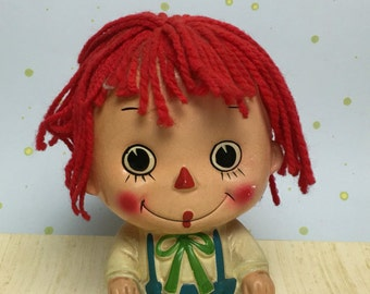 Enesco Vintage Raggedy Andy Bank with Wool Red Hair