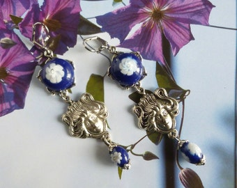 """Earrings Art Nouveau """"Giverny"""" beads and handmade glass cabochons, 1900 silver prints"""
