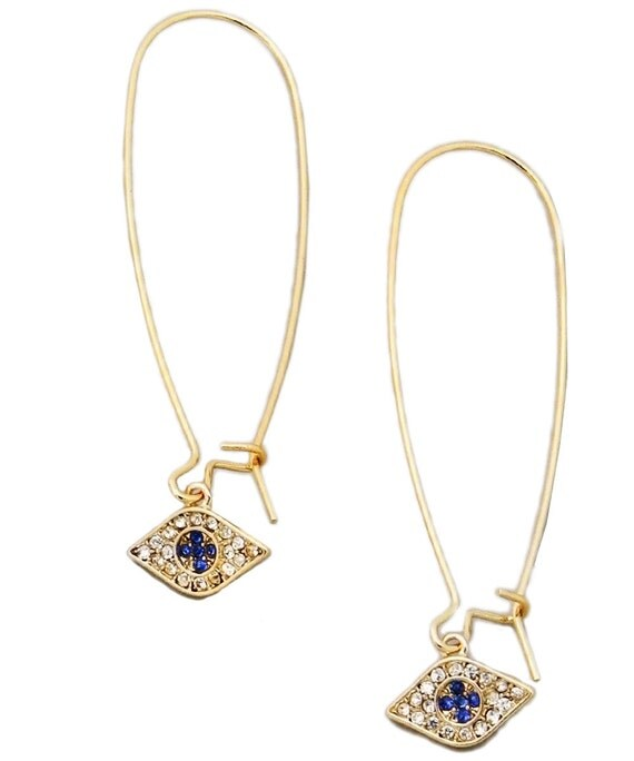 Evil Eye Earring Long wire Crystals