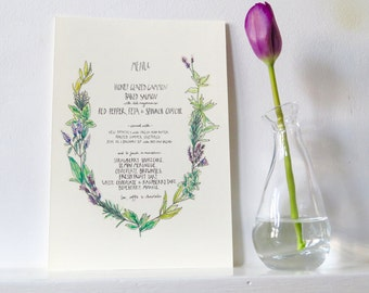 Bespoke, tailor-made menu design - weddings, birthdays, anniversaries - perfect design for any occasion - all one-off and original