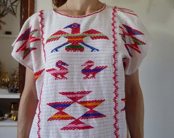 Vintage ethnic oaxacan mexican huipil dress size S-M 70's hippie