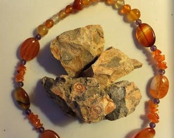 Carnelian and Amethyst Necklace (FREE US SHIPPING)