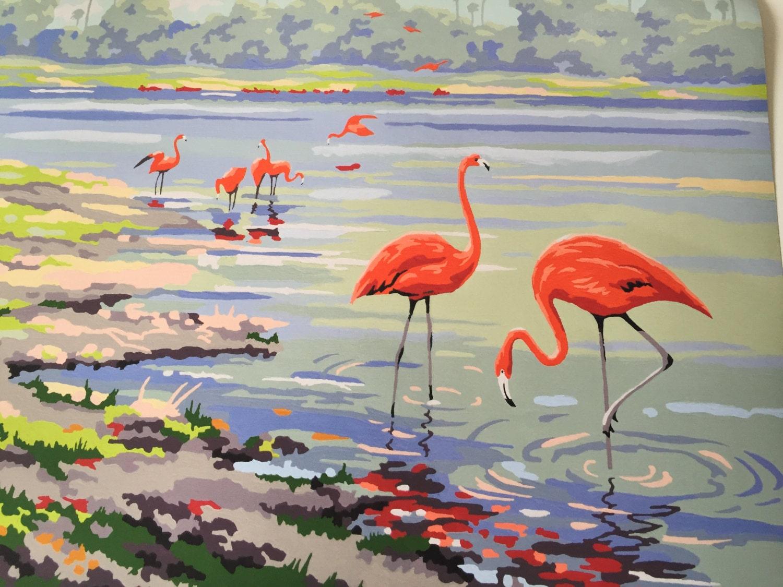 Flamingo Print Vintage Paint By Numbers 1940 Flamingo Bay