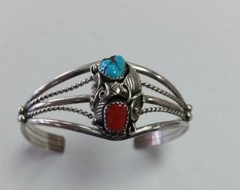 """Vintage 1960's Navajo Bracelet Turquoise And Coral 6-1/2"""""""