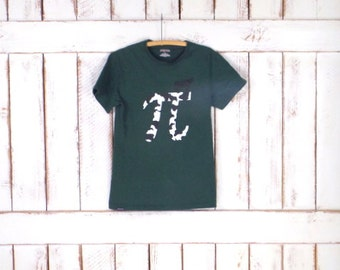 Vintage 90s dark green cow pi tshirt/mathematics graphic tee/small