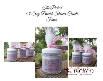 24-1.5 oz Bridal Shower-Soy Candle-Thank You-Gift Favor-Card-Label-Customized-Personalized-Gift Tag-Organza Bag-Box