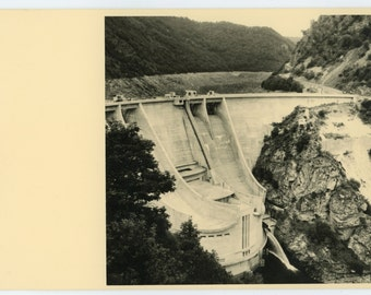 Dammed gorge - original 50s vintage photo - landscape photo - old hydroplant - engineering- paper ephemera