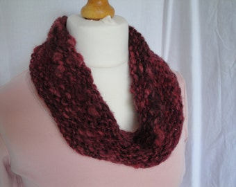 wine red cowl, knitted neck-warmer, wool and silk cowl, red infinity scarf, textured cowl, reversible knit, OOAK neck-warmer, artisan cowl