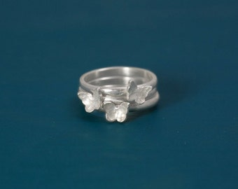 Sterling silver stacking butterfly ring set